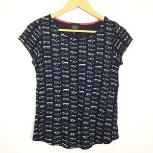 {W5} cropped glasses print top S